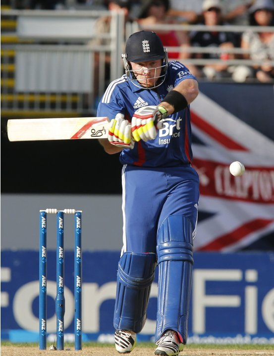 Bell of England plays a shot against New Zealand during the final cricket match of their one day international series at Eden Park, Auckland