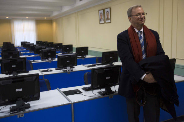 Executive Chairman of Google, Eric Schmidt tours a computer lab at Kim Il Sung University in Pyongyang, North Korea on Tuesday, Jan. 8, 2013. Schmidt is the highest-profile U.S. executive to visit Nor