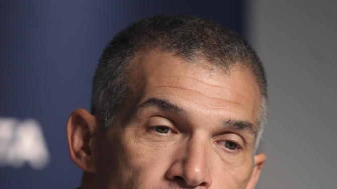 New York Yankees manager Joe Girardi speaks to the media during a season-ending news conference in New York, Wednesday, Oct. 24, 2012.  (AP Photo/Seth Wenig)