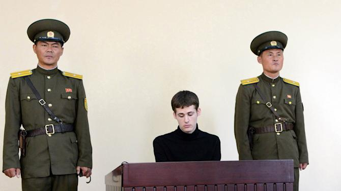 US citizen Miller Matthew Todd pictured at North Korean Supreme Court in Pyongyang on September 14, 2014 in a picture released by KCNA