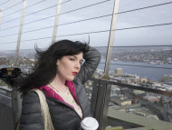 Traveling cross-country on solo modeling trips has been exhilarating and life-enriching. Here I am on a break during a photo shoot at the Space Needle with Seattle photographer Dave Lewis.