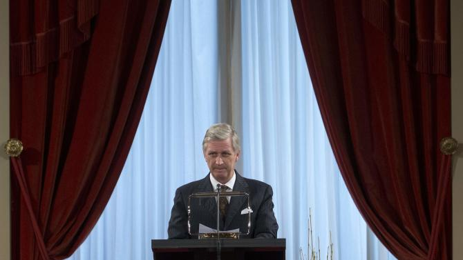 Belgium's King Philippe delivers a speech during a traditional new year reception at the Brussels Royal Palace