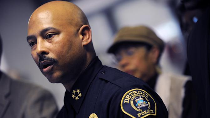 """FILE - In this Thursday, Jan. 5, 2012 file photo, Detroit Police Chief Ralph Godbee speaks during a news conference at the Northeastern District Police Station, in Detroit. Detroit Mayor Dave Bing on Tuesday, Oct. 2, 2012 suspended Godbee in a probe of unspecified allegations. The mayor says he placed Godbee """"on a 30-day suspension pending a full and thorough investigation of this matter."""" (AP Photo/Detroit News, Brandy Baker) DETROIT FREE PRESS OUT; HUFFINGTON POST OUT"""