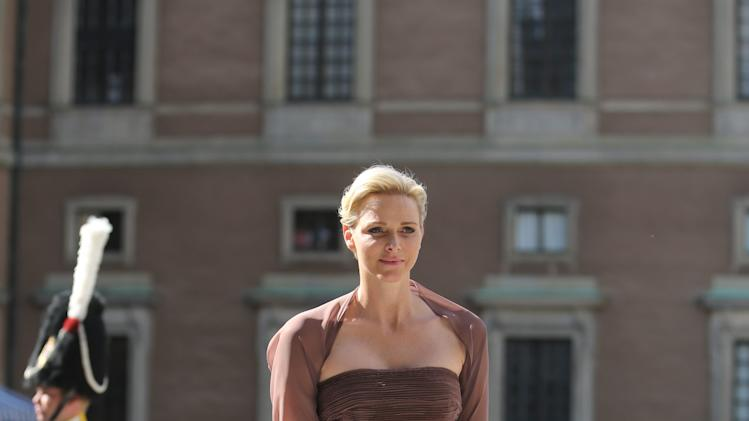 Princess Charlene of Monaco arrives at the Royal Chapel before the wedding of Sweden's Princess Madeleine and Christopher O'Neill, in Stockholm Saturday June 8, 2013. (AP Photo/Soren Andersson) ** SWEDEN OUT **