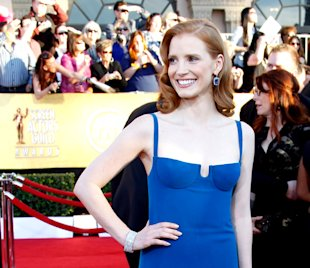 SAG Awards Fashion: Jessica Chastain Makes Welcome Change in Blue Calvin Klein Gown.