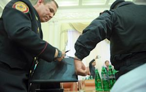 A picture taken and released by the Ukrainian Prime…