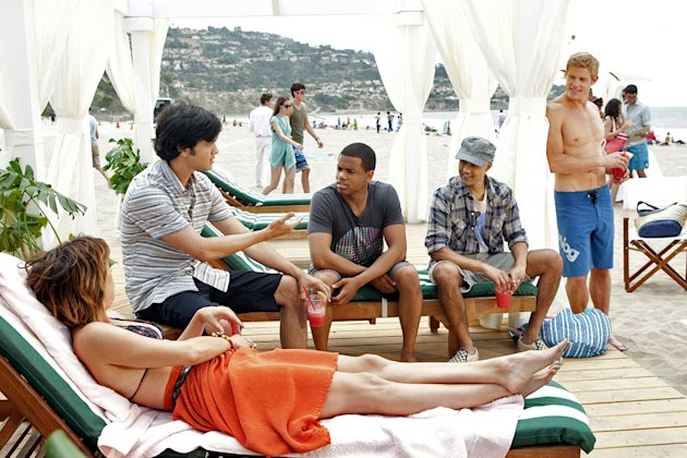 """Up In Smoke""--LtoR: Jessica Stroup as Erin Silver, Michael Steger as Navid Shirazi, Tristan Wilds as Dixon Wilson, Manish Dayal as Raj Kahn, and Trevor Donovan as Teddy on 90210 on The CW. Photo: Mic"