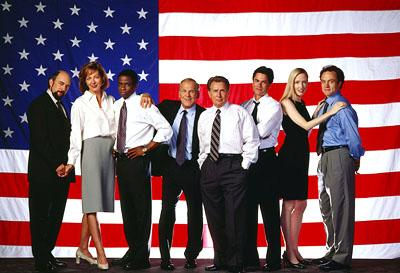 "Richard Schiff, Allison Janney, Dule Hill, John Spencer, Martin Sheen, Rob Lowe, Janel Moloney and Bradley Whitford on NBC's ""The West Wing"" West Wing"