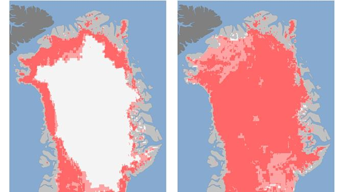 """These undated handout images provided by NASA shows the extent of surface melt over Greenland's ice sheet on July 8, left, and July 12, right. Measurements from three satellites showed that on July 8, about 40 percent of the ice sheet had undergone thawing at or near the surface. In just a few days, the melting had dramatically accelerated and an estimated 97 percent of the ice sheet surface had thawed by July 12. In the image, the areas classified as """"probable melt"""" (light pink) correspond to those sites where at least one satellite detected surface melting. The areas classified as """"melt"""" (dark pink) correspond to sites where two or three satellites detected surface melting. Nearly every part of the massive Greenland ice sheet suddenly and strangely melted a bit this month in a freak event that concerned scientists had never witnessed before. NASA says three different satellites saw what it calls unprecedented melting from July 8 to July 12. Most of the thick ice remains, but what was unusual was the widespread area where some melting occurred. (AP Photo/Nicolo E. DiGirolamo, SSAI/NASA GSFC, and Jesse Allen, NASA Earth Observatory"""