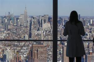 The Manhattan skyline is seen from the 68th floor of the 4 World Trade Center tower in New York,