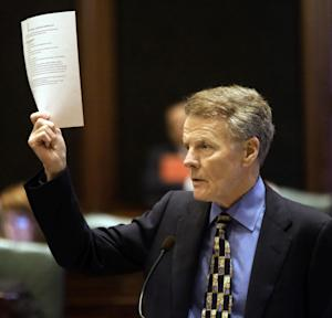 Illinois Speaker of the House Michael Madigan, D-Chicago, argues concealed carry gun legislation while on the House floor during session at the Illinois State Capitol Friday, May 24, 2013, in Springfield Ill. (AP Photo/Seth Perlman)