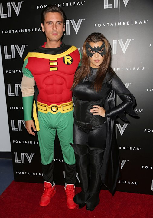 Kourtney Kardashian and boyfriend Scott Disick opted for the superhero look, going as Batman and Robin. Copyright [Getty]