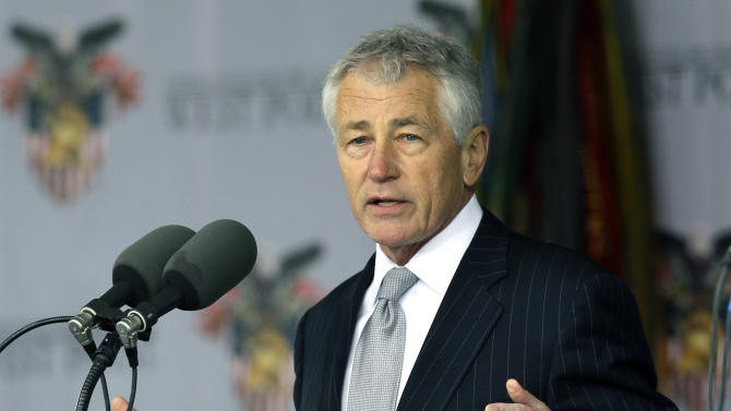 Defense Secretary Chuck Hagel speaks during a graduation and commissioning ceremony at the U.S. Military Academy in West Point, N.Y. on Saturday, May 25, 2013. (AP Photo/Mike Groll)