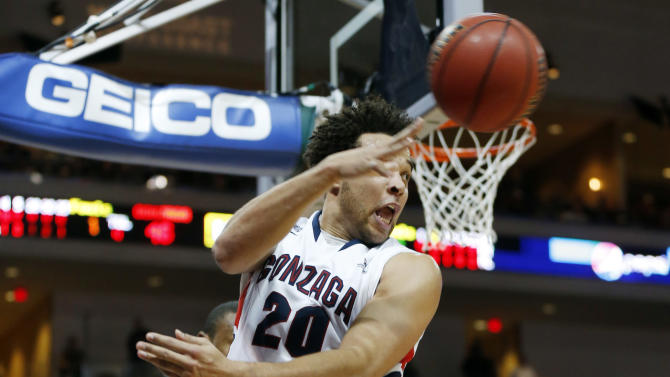Gonzaga's Elias Harris (20), of Germany, inbounds a ball during the second half of a West Coast Conference tournament NCAA college basketball game against Loyola Marymount, Saturday, March 9, 2013, in Las Vegas. Gonzaga defeated Loyola Marymount 66-48. (AP Photo/Isaac Brekken)
