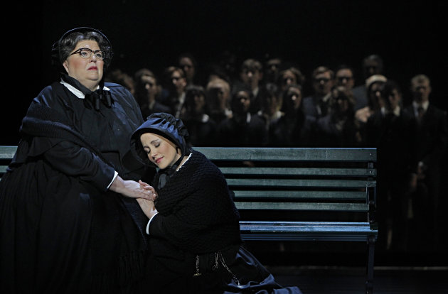 "In this Jan. 23, 2013 photo provided by the Minnesota Opera, Christine Brewer, left, as Sister Aloysius Beauvier, the school principal and Adriana Zabala as Sister James, a teacher and a nun, perform during a dress rehearsal for the Jan. 26 world premiere of ""Doubt"" at the Minnesota Opera Center in Minneapolis. (AP Photo/Minnesota Opera, Michal Daniel)"