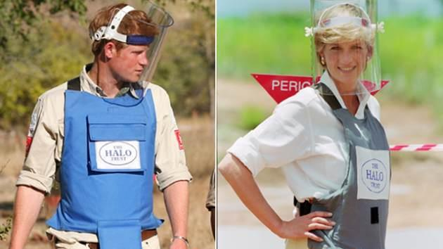 Prince Harry in Mozambique (2010) and Princess Diana in Angola (1997) -- Getty Images