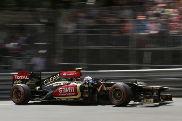 Lotus Formula One driver Romain Grosjean of France drives during the third practice session of the Monaco F1 Grand Prix