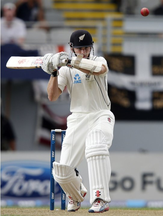 Kane Williamson of New Zealand plays a shot during day one of their final cricket test against England at Eden Park in Auckland