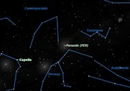 The Perseid meteors appear to radiate from a point between the constellations Perseus and Cassiopeia, in the northeastern section of the sky. The 2012 Perseid meteor shower display peaks on Aug. 12.
