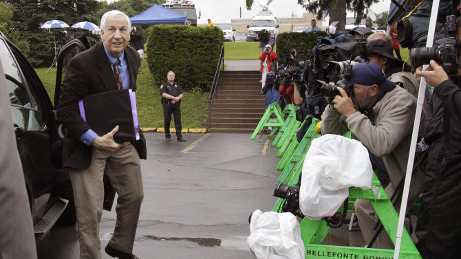 Former Penn State University assistant football coach Jerry Sandusky arrives at the Centre County Courthouse in Bellefonte, Pa., Monday, June 18, 2012. The defense is to begin presenting it's case in Sandusky's trial on 52 counts of child sexual abuse involving 10 boys over a period of 15 years on Monday.  (AP Photo/Gene J. Puskar)