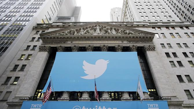 FILE - In this Thursday, Nov. 7, 2013 file photo, a banner with the Twitter logo hangs on the facade of the New York Stock Exchange in New York the day after the company went public. Stocks are down for many technology companies, including Twitter, which is down 35 percent since early March 2014. Biotechnology companies have also been hit hard. (AP Photo/Mark Lennihan, File)