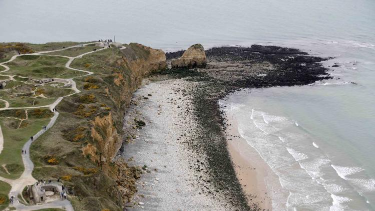 "An aerial view shows the ""Pointe du Hoc"" cliffs and memorial in the Normandy region"