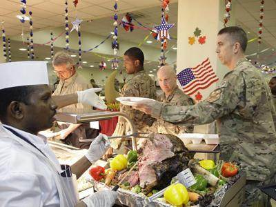 Raw: Troops celebrate Thanksgiving in Kabul