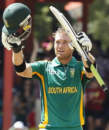 South Africa's Ingram celebrates his 100 runs during their One day international cricket match against Pakistan in Bloemfontein