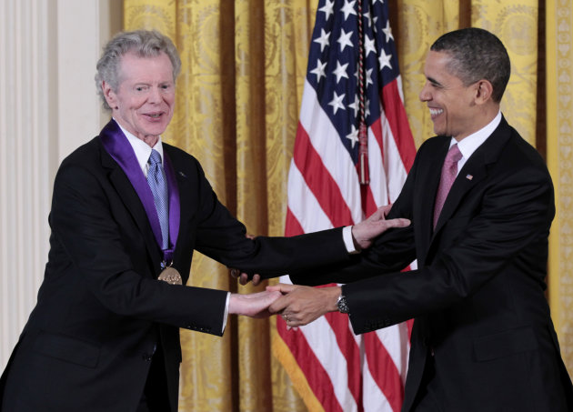 President Barack Obama presents a 2010 National Medal of Arts to pianist Van Cliburn, Wednesday, March 2, 2011, during a ceremony in the East Room of the White House in Washington. (AP Photo/Pablo Mar