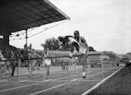 "The 110 meters hurdles during the London Olympics in 1948. London in 1948 was a city recovering from the severe damage inflicted by the ""blitzkreig"" Nazi German bombardment. The athletes slept in military barracks and boarding schools, engendering a strong team spirit"