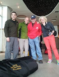 Diego Delgado, Michel White, Dale Shippam and Heather Ross weighing in their gear.
