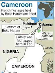 "Map of Cameroon and NE Nigerias howing where a French family was kidnapped in February. Cameroon's President Paul Biya said in a statement read on national radio that the hostages -- who were seized by six gunmen on February 19 and taken to neighbouring Nigeria -- had been ""handed over last night to Cameroonian authorities"""