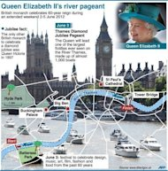 Events taking place in London during the holiday weekend marking Queen Elizabeth II&#39;s diamond jubilee, including the route of the 1,000-boat river pageant. Britons have begun four days of festivities for the queen&#39;s diamond jubilee, turning out in droves for events around the country in a surge of enthusiasm for the monarchy