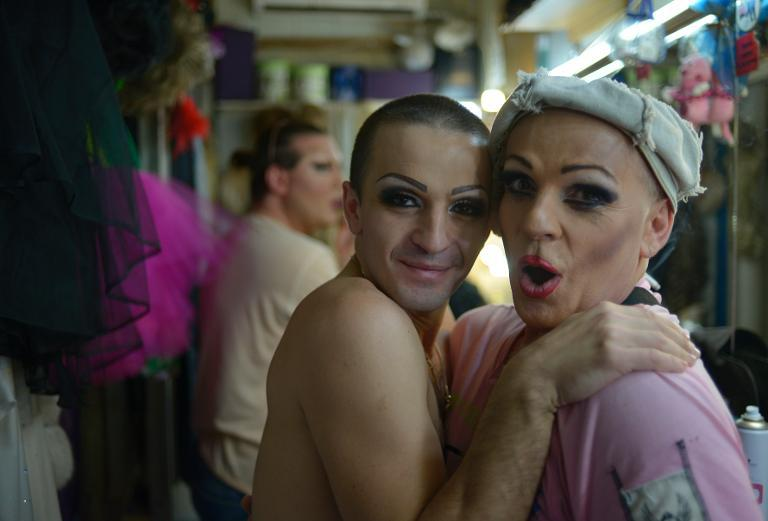 Performers pose for a photo backstage before their show in a gay club in the Russian Black Sea resort of Sochi, on September 28, 2013