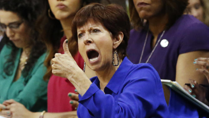 Notre Dame head coach Muffet McGraw reacts against Stanford during the second half of a women's college basketball regional semifinal game in the NCAA Tournament, Friday, March 27, 2015, in Oklahoma City. Notre Dame won 81-60. (AP Photo/Sue Ogrocki)