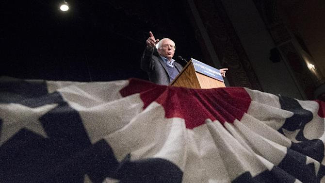 Democratic presidential candidate Sen. Bernie Sanders, I-Vt., speaks during a campaign stop at the Palace Theatre, Monday, Feb. 8, 2016, in Manchester, N.H. (AP Photo/John Minchillo)