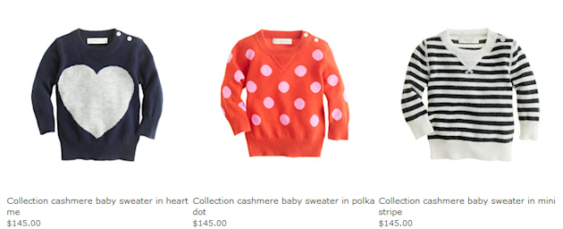 Collection cashmere baby sweaters from J. Crew.