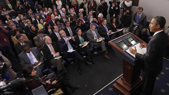 President Barack Obama speaks in the James Brady Press Briefing Room of the White House in Washington, Tuesday, Feb. 5, 2013. The president will ask Congress to come up with tens of billions of dollars in short-term spending cuts and tax revenue to put off the automatic across the board cuts that are scheduled to kick in March 1.  (AP Photo/Charles Dharapak)