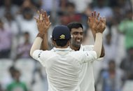 Indian cricketer Ravichandran Ashwin celebrates the wicket of New Zealand cricket captain Ross Taylor. Ashwin exposed New Zealand's batting limitations against spin with a second successive six-wicket haul as India won the opening Test by an innings and 115 runs