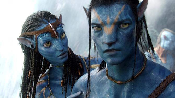 "In this film publicity image released by 20th Century Fox, the character Neytiri, voiced by Zoe Saldana, and the character Jake, voiced by Sam Worthington, are shown in a scene from, ""Avatar."" Avatar became the highest grossing film of all time, domestically and globally, and thus, is one of the top entertainment stories of the year. (AP Photo/20th Century Fox) NO SALES"
