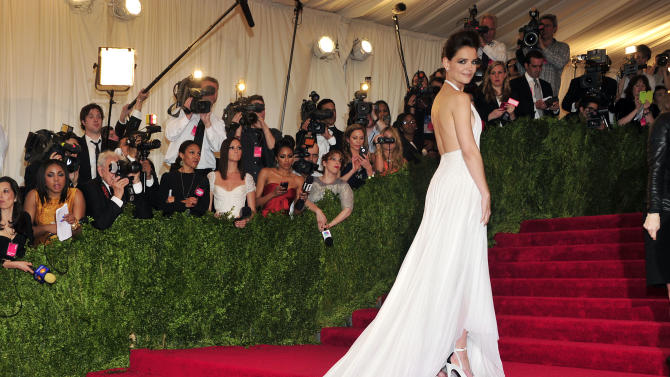 """Katie Holmes attends The Metropolitan Museum of Art's Costume Institute benefit celebrating """"PUNK: Chaos to Couture"""" on Monday May 6, 2013 in New York. (Photo by Charles Sykes/Invision/AP)"""