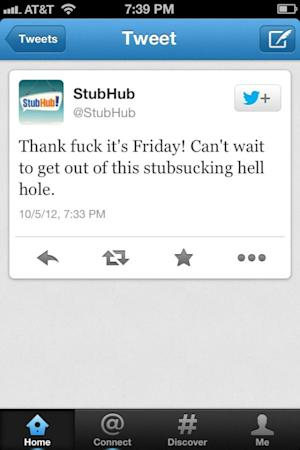 StubHub Twitter Account Posts Vulgar Tweet, Then Deletes It