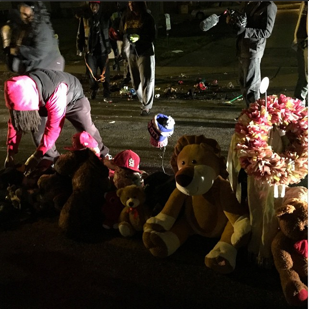 Michael Brown memorial hit by car overnight