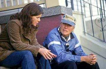 Marcia Gay Harden and director Clint Eastwood on the set of Warner Bros. Mystic River