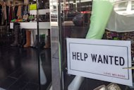 <p>               In this  Friday, Dec. 7, 2012, photo, a help wanted sign is posted on the front window of a clothing boutique in Los Angeles.The number of Americans seeking unemployment benefits fell sharply for a fourth straight week, a sign that the job market may be improving. The Labor Department said Thursday, Dec. 13, 2012, that weekly applications for unemployment benefits fell 29,000 last week to a seasonally adjusted 343,000, the lowest in two months. It is the second-lowest total this year.  (AP Photo/Damian Dovarganes)