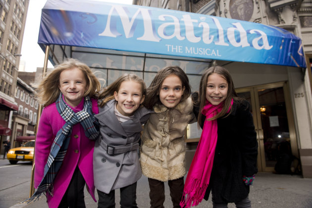 Actresses from left, Milly Shapiro, Sophia Gennusa, Oona Laurence and Bailey Ryon, who will share the starring role in &quot;Matilda the Musical&quot; on Broadway, pose for a portrait outside the Shubert Theatre, on Thursday, Nov. 15, 2012 in New York. (Photo by Charles Sykes/Invision/AP)