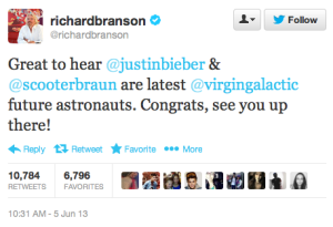 Justin Bieber, Scooter Braun Will Blast Into Space - Virgin Galactic-style