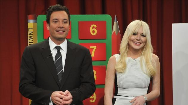 Jimmy Fallon and Lindsay Lohan during a taping of 'Late Night With Jimmy Fallon' at Rockefeller Center on March 1, 2012 in New York City -- Getty Premium