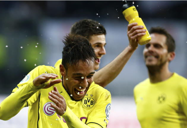 Borussia Dortmund's Aubameyang celebrates their victory over Eintracht Frankfurt after their German soccer cup (DFB Pokal) quarter-final soccer match in Frankfurt