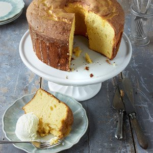 Orange Chiffon Cake with Buttermilk Ice Cream